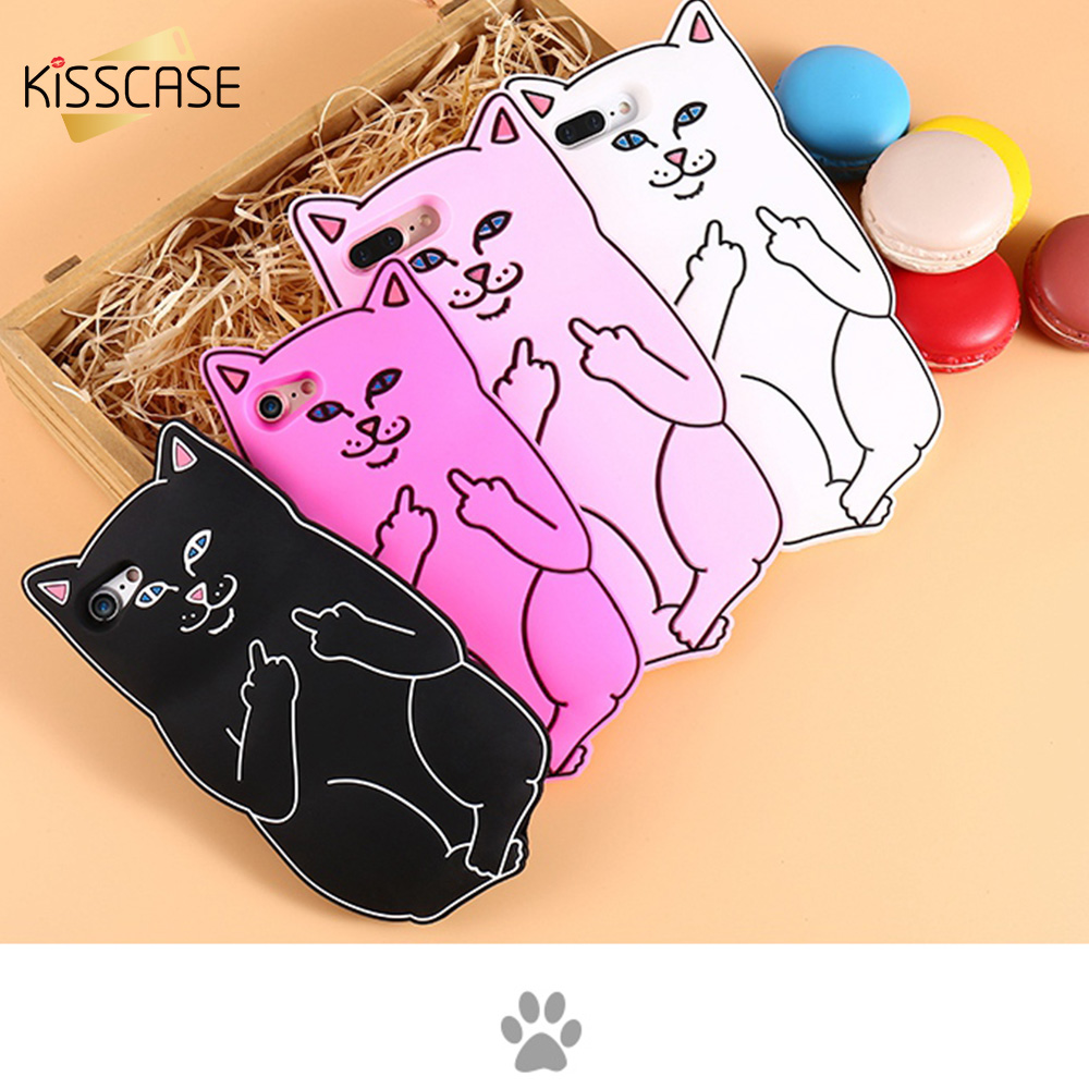 KISSCASE 3D Pocket Cat Silicone Cases For iPhone 8 7 6 6s Plus Cute Cartoon Ripndip Phone Cover