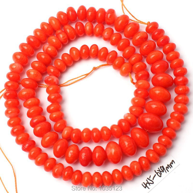 Free Shipping 4x5-6x9mm Smooth Natural Orange Coral Rondelle Shape Loose Beads Strand 15 DIY Creative Jewellery Making w3048