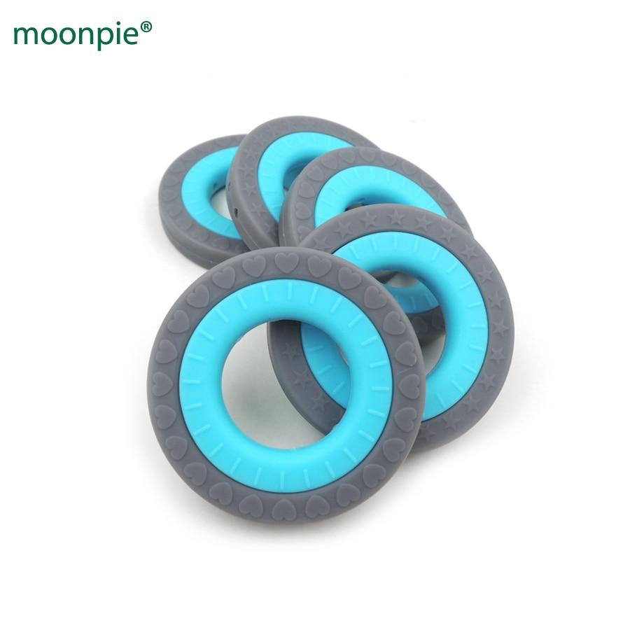 Új 10 készlet két gyűrű, 2 egyenes lyukkal baba fogak szilikon fogazás gyűrű alakú BPA FREE fogzás DIY ápolási játék BST11
