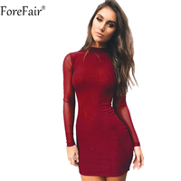 ForeFair Sexy Mesh Patchwork Long Sleeve Slim Bodycon Party Dresses Back Zipper Black Red Yellow Women Turtleneck Autumn Dress