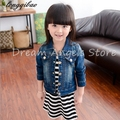 2017 new spring and autumn children clothing child clothes baby girl outerwear coat girl's jackets denim kids tops jeans wear