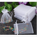 Jewelry Organizer Gift Bag 100pcs Wholesale White Drawable Organza 5x7cm For Wedding Bags Jewelry Pouches,small Candy Bags