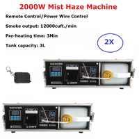 2 XLot 2000 W brume Machine 3 L professionnel brumisateur Machine à brouillard scène DJ montre des équipements pour scène de mariage Dj Laser lumière Club