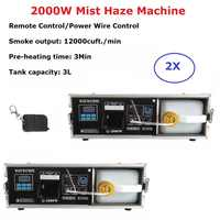 2XLot 2000W Mist Haze Machine 3 L Professional Hazer Fog Machine Stage DJ Shows Equipments For Wedding Stage Dj Laser Light Club