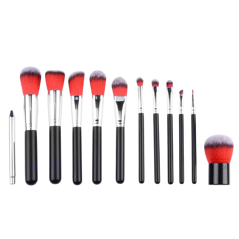 Professional 12pcs Cosmetic Makeup Brush Set Foundation Powder Eyebrow Make up Brushes with Cosmetic Bag professional makeup brush flat top brush foundation powder beauty cosmetic make up brushes tool wooden kabuki