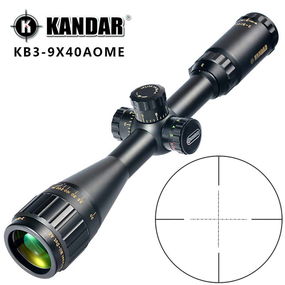 KANDAR Gold Edition 3-9x40 AOME Glass Etched Mil-dot Reticle Locking RifleScope Hunting Rifle Scope Tactical Optical Sight