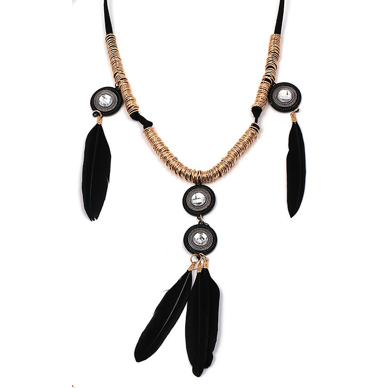 New Arrival feather pendant fashion necklace design statement tassel necklace & pendant choker collar pendantNecklace (red)NHJJ1540