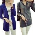 Otoño de Corea Mujeres de la rebeca Delgada de manga larga con capucha 2016 largo Knit sweater cardigan outwear chaqueta abrigos loose women Tops
