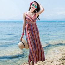 Women Chiffon Beach Dress Bohenmian Style Print Sleeveless holiday Elastic Waist V-neck Casual Soft Sundress Vocation long Dress elegant women s sleeveless elastic waist v neck buttoned dress