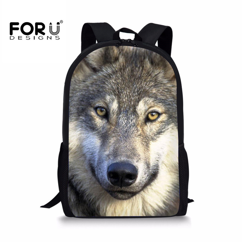FORUDESIGNS 3D Wolf Printing Primary School Bags Children Orthopedic Design School Backp ...