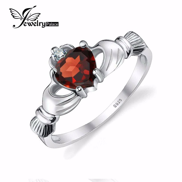 b14ad6d901905 US $23.31 |100% Natural Garnet Irish Claddagh Ring Solid 925 Sterling  Silver Friendship Love Heart Fine Gemstone Jewelry January Birthstone-in  Rings ...