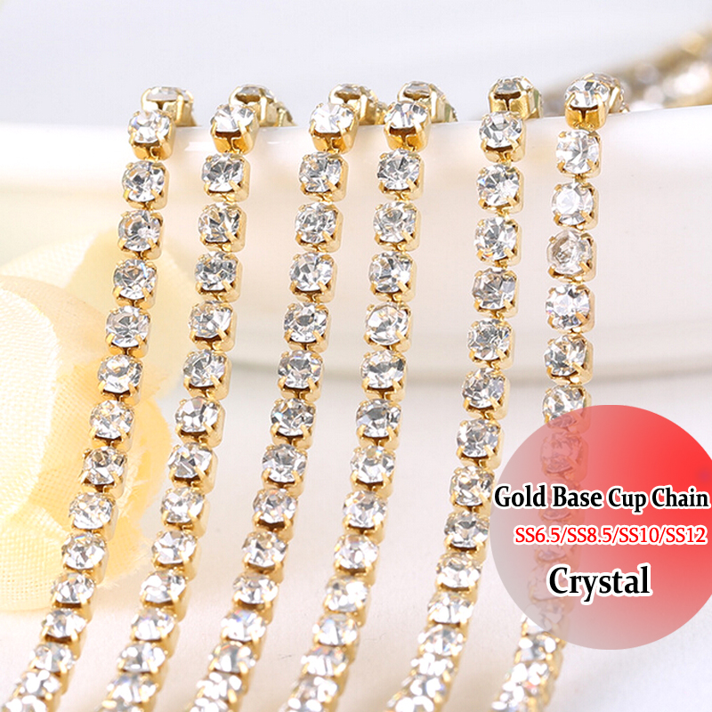 Gold Base 3mm Sewing On Rhinestones chain trimming Rhinestones - Arts, Crafts and Sewing