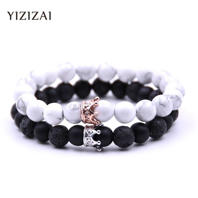 YIZIZAI Couple Bracelet Crown Bracelets For Women Charm Stone Beads Men Jewelry  Pulseira Masculina Bileklik Pulseira Feminina