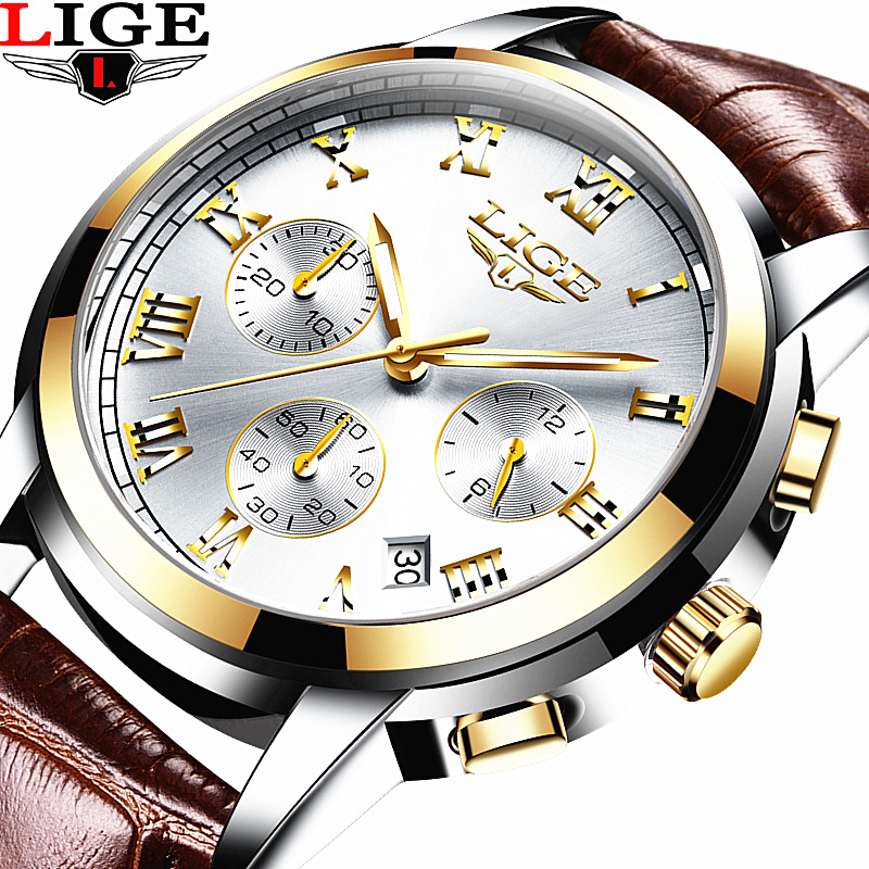 2017 LIGE Men's Fashion Business Watches Men Quartz Analog Clock Man Leather Military Waterproof Watch Relogio Masculino