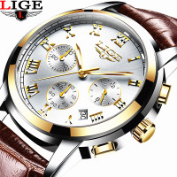 2017 LIGE Men S Fashion Business Watches Men Quartz Analog Clock Man Leather Military Waterproof Watch