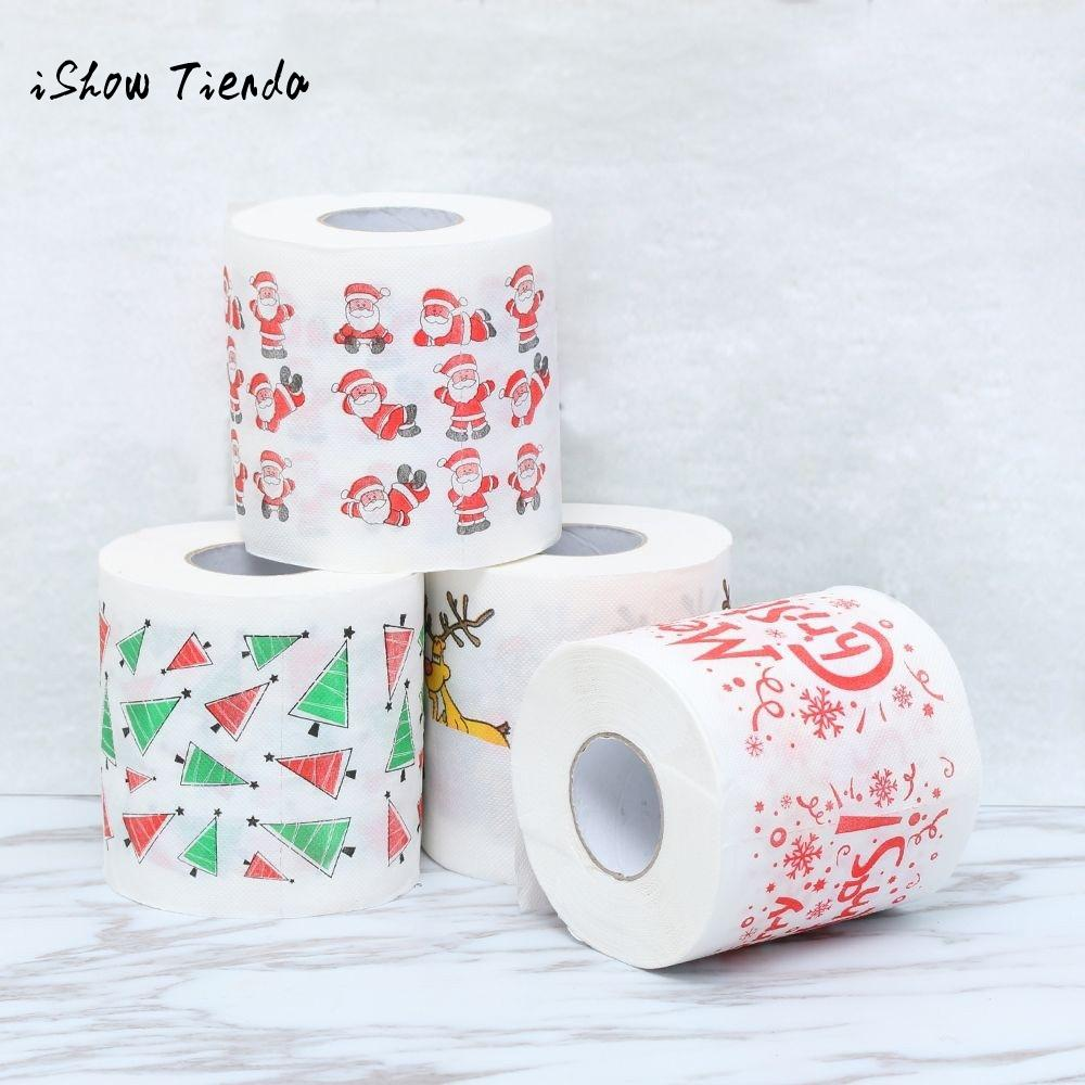 Xmas Decor Tissue Home Santa Claus Bath Toilet Roll Paper Disposable Party Tableware Christmas Supplies