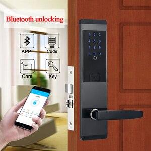 Image 1 - Serrure de porte intelligente avec combinaison de sécurité électronique, application de verrouillage de porte intelligente, wi fi, clavier à écran tactile, mot de passe, pour porte et bureau