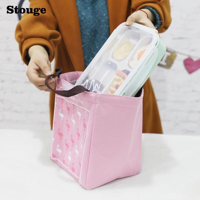 Stouge 1pc Flamingo Tote Thermal Bag Black Waterproof Oxford Beach Lunch Bag Food Picnic For Women kid Men Cooler Bag