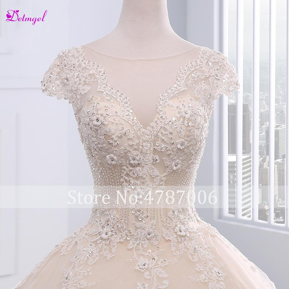 Detmgel Romantic Scoop Neck Lace Up A Line Wedding Dress 2019 Chapel Train Appliques Beaded Princess Bride Gown Vestido de Noiva in Wedding Dresses from Weddings Events