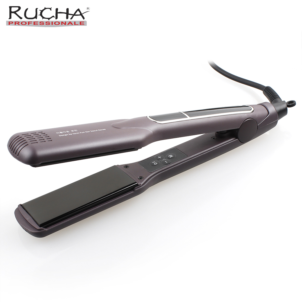 RUCHA Professional Electric Hair Straightener Advanced MCH Hair Styling Tools Flat Iron Ceramic Wide Plates for Salon titanium plates hair straightener lcd display straightening iron mch fast heating curling iron flat iron salon styling tools
