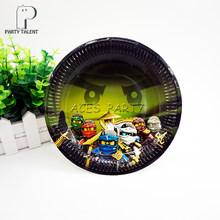 Party supplies 8PCS 7inch Ninja theme party decoration disposable tableware paper plate dishes white cardboard with food film(China)
