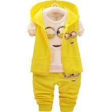 2018 Herbst Jungen kleine gelbe Menschen Cartoon 3 teile / satz Kleidung Anzüge Koreanische Kinder T Shirts Hosen Jacke Kinder Sets Baby Kleidung