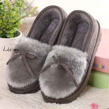 NEWORANGE 2017 Autumn Winter Women Ballet Flats Lovely Bow Warm Fur Comfort Cotton Shoes Woman Loafers Slip On Size 40 WFS252