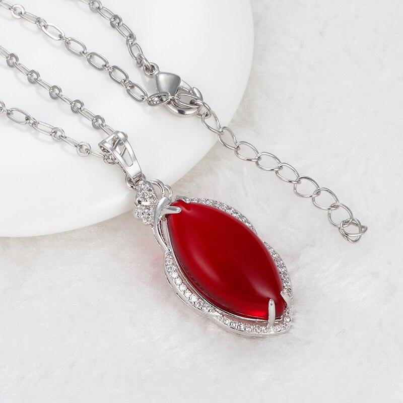 95a417666a25 Homod 2017 moda elegante collar de piedra rojo plata Amuletos Colgantes  cadena del rhinestone rojo Colgantes Collares mujeres para niña regalo