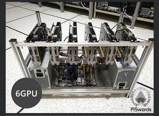 Штабелируемый алюминиевый чехол для майнинга открытым воздухом чехол для майнинга Рамка для 6/8/12 GPU Bitcon Биткоин Litecoin комплект несобранный эфириум 6