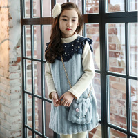 thick lace patchwork little girls long sleeve dress winter autumn 2018 kids princess dress children dress teenage girls clothing