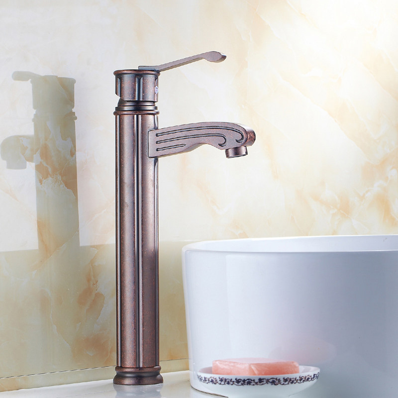 Oil Rubbed Bronze wash basin faucet red, Bathroom ORB basin faucet hot and cold,Copper antique sink basin faucet mixer water tap brushed nickel deck mount waterfall basin mixer dual handle 3 holes bathroom faucet