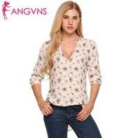 ANGVNS Women Chiffon Blouse Deep V Neck Long Sleeve Irregular Half Button Up Floral T Shirt