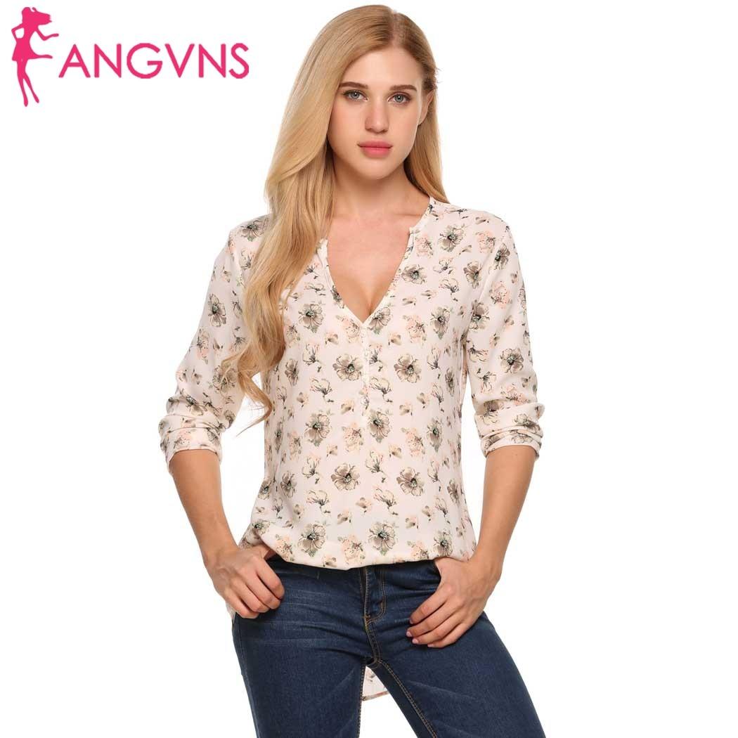 ANGVNS Femmes En Mousseline de Soie Blouses Chemises à Fleurs Profonde V-cou Automne Blouse À Manches Longues Imprimer Bouton Tissu Marque Tops Blusas Feminina