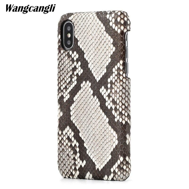 Cuir peau de python couverture arrière pour iPhone x étui peau de python étui de téléphone personnalisé haut de gamme pour iPhone 6 s 7 8 plus