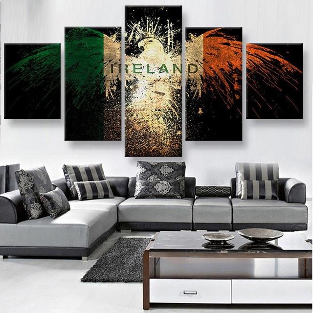 Wall Art 5 Panels canvas prints IRELAND EAGLE canvas painting home decor CUSTOM canvas poster & Wall Art 5 Panels canvas prints IRELAND EAGLE canvas painting home ...