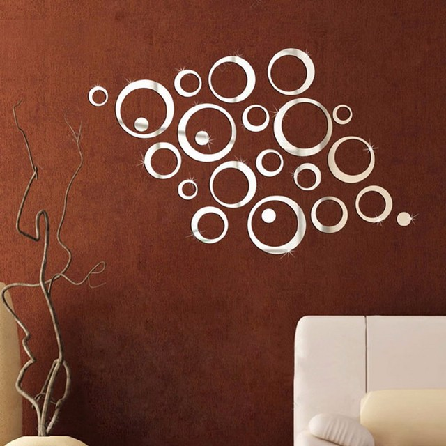2017 Hot Sales 24Pcs Circles Wall Stickers Mirror Style Removable Decal Vinyl Art  Mural Wall Sticker Home Adesivo De Parede