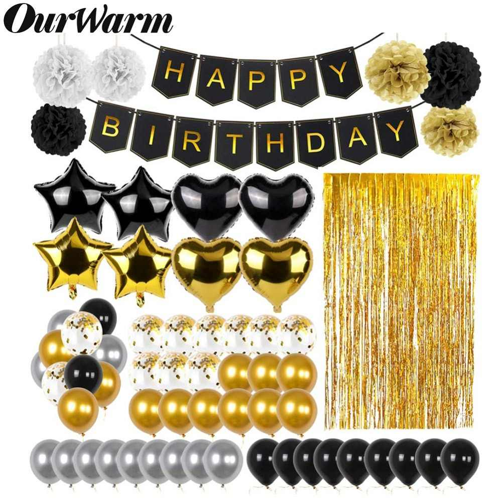 OurWarm 51Pcs Birthday Party Decorations Set Black Gold Happy Birthday Banner Balloons Paper PomPoms Foil Tinsel Fringe Curtain