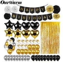 OurWarm 51 Adet Doğum Günü Partisi Süslemeleri Seti Siyah Altın Happy Birthday Banner Balonlar Kağıt PomPoms Folyo Tinsel Fringe Perde