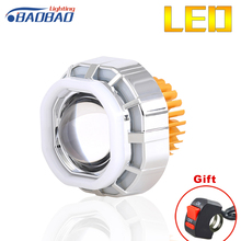 BAOBAO 12-80v 2200lm Latest Square Motorcycle Led Headlight Projector Lens High Low Beam Double Angel Eye V07 Headlights