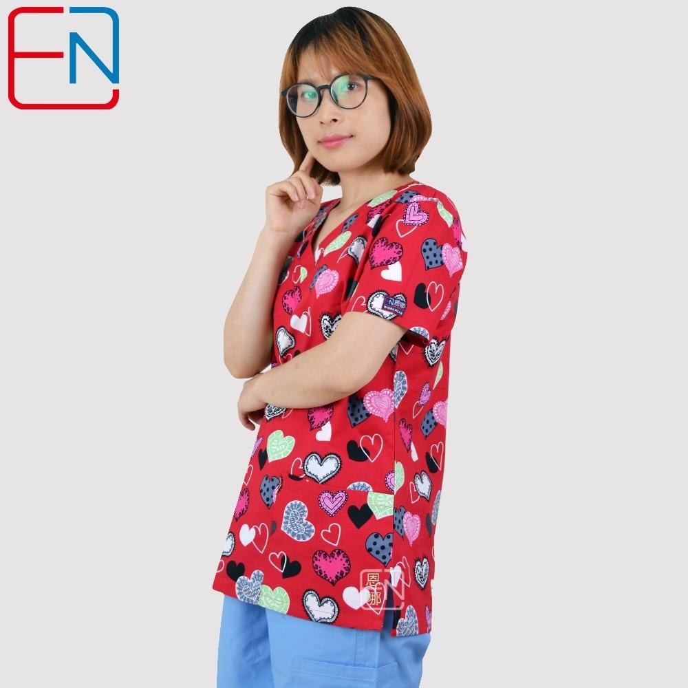 Brand Medical Scrub Tops For Women Surgical Scrubs,scrub Uniform In 100% Print Cotton Maotou Series Ai Xin