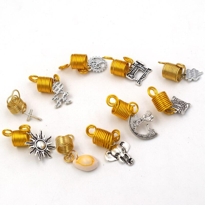 new 20Pcs 12mm mix hair braid dread dreadlock beads spiral shell elephant cuff clip 10mm hole clip +1free africa Jamaica beads
