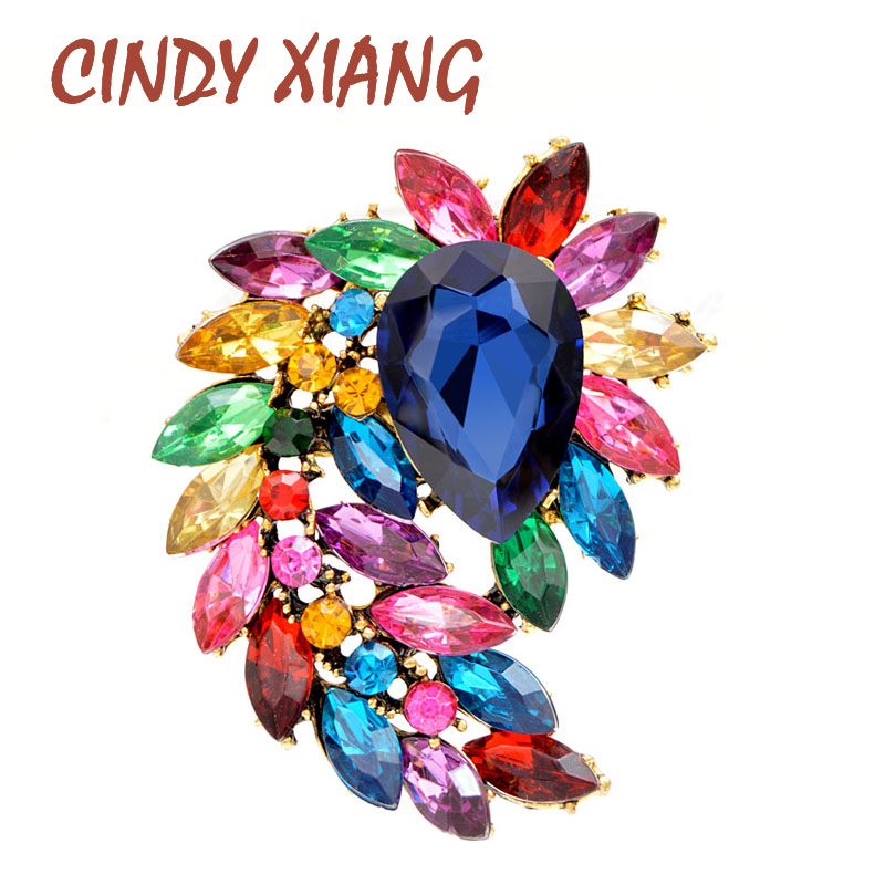 CINDY XIANG New Arrival 6 Colors Choose Large Crystal Flower Brooches For Women Elegant Fashion Jewelry Wedding Bouquet Brooch