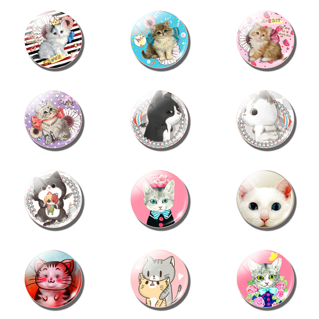 12pcs Cute Cat Fridge Magnet Sets Lovely 25MM Glass Note Holder Removable Magnets Refrigerator Sticker Magnetic Home Decor 2