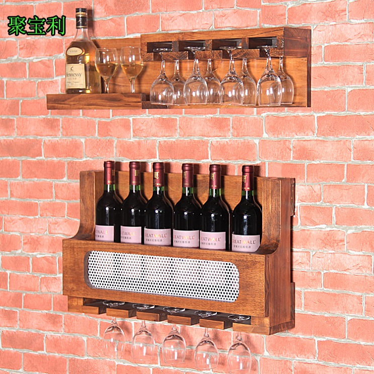 Сделать старые стены вина Nordic Ретро деревянная рама бар шкаф для хранения бокал вина