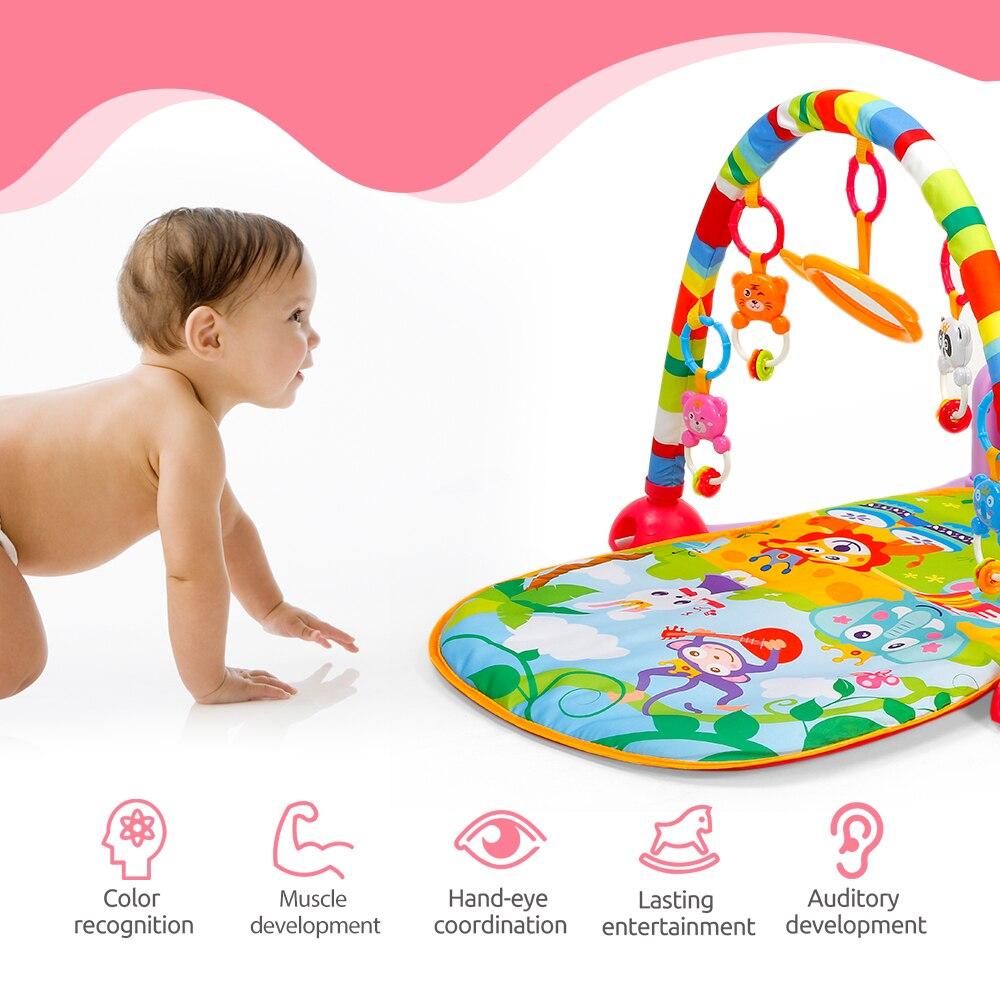 Jouet éducatif nouveau-né de tapis de jeu de forme physique de Piano de bébé avec la lumière/musique/4 hochets de bande dessinée d'animal/jouet démontable de Piano/1 miroir
