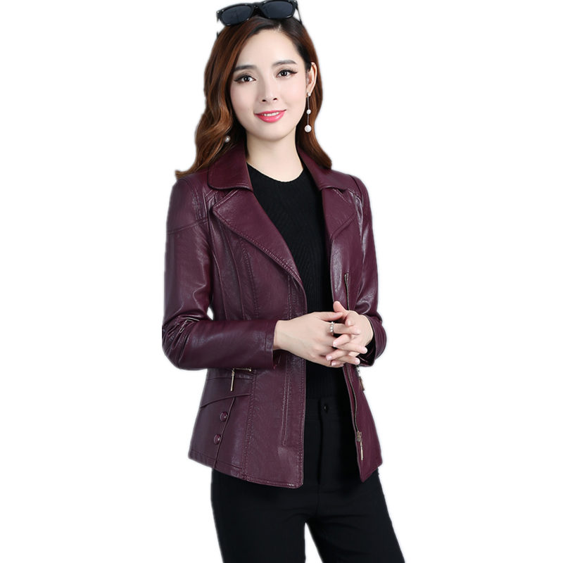 Plus Size 5XL New Design Spring PU Leather Jacket Women Zipper Motorcycle Faux Leather Coat Chaqueta Mujer Bomber Jacket C4066