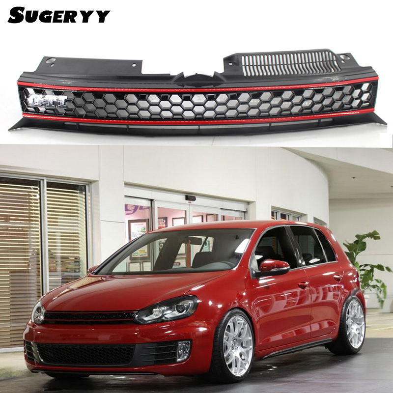 SUGERYY Racing Grills Bumper Cover Grille Grill For Volkswagen Golf 6 MK6 GTI R20 ABS Exterior Parts Car-styling Accessories 3 series carbon front bumper racing grill grills for bmw f30 f31 standard sport 12 16 320i 325i 330i 340i non m3 style car cover