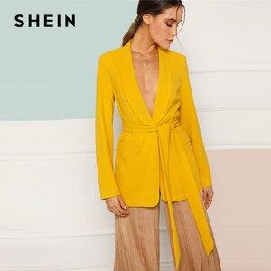 SHEIN الأصفر شال طوق الذاتي مربوط واحدة الصدر الصلبة عادي السترة النساء جيب 2019 الربيع الحد الأدنى معطف قميص