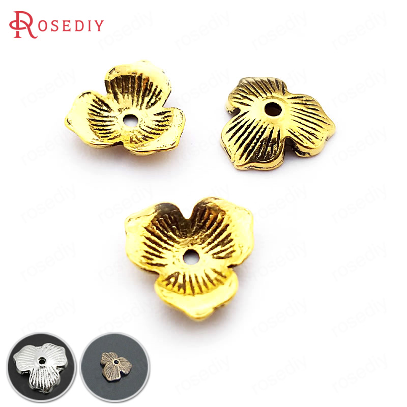 (20930-G)25PCS 10MM Antique Bronze Flower Beads Caps Diy Handmade Jewelry Findings Accessories Wholesale pure handmade string beads beads bracelets tassels roasted blue flower accessories amber beaded bracelet factory wholesale