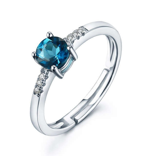 0.6ct Natural Blue Topaz Wedding Rings For Women Luxury 925 Sterling Silver  Jewelry